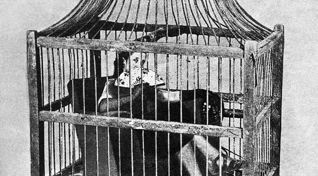 Arte y Fotografía en Argentina, Grete Stern la publicación de Grete Stern Nº 47 de la Revista Idilio que representa a una mujer sentada en una jaula abanicándose